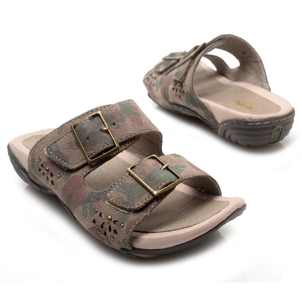 715-970 - Jambu Leather Two-Strap Buckle Detailed Slip-on Sandals