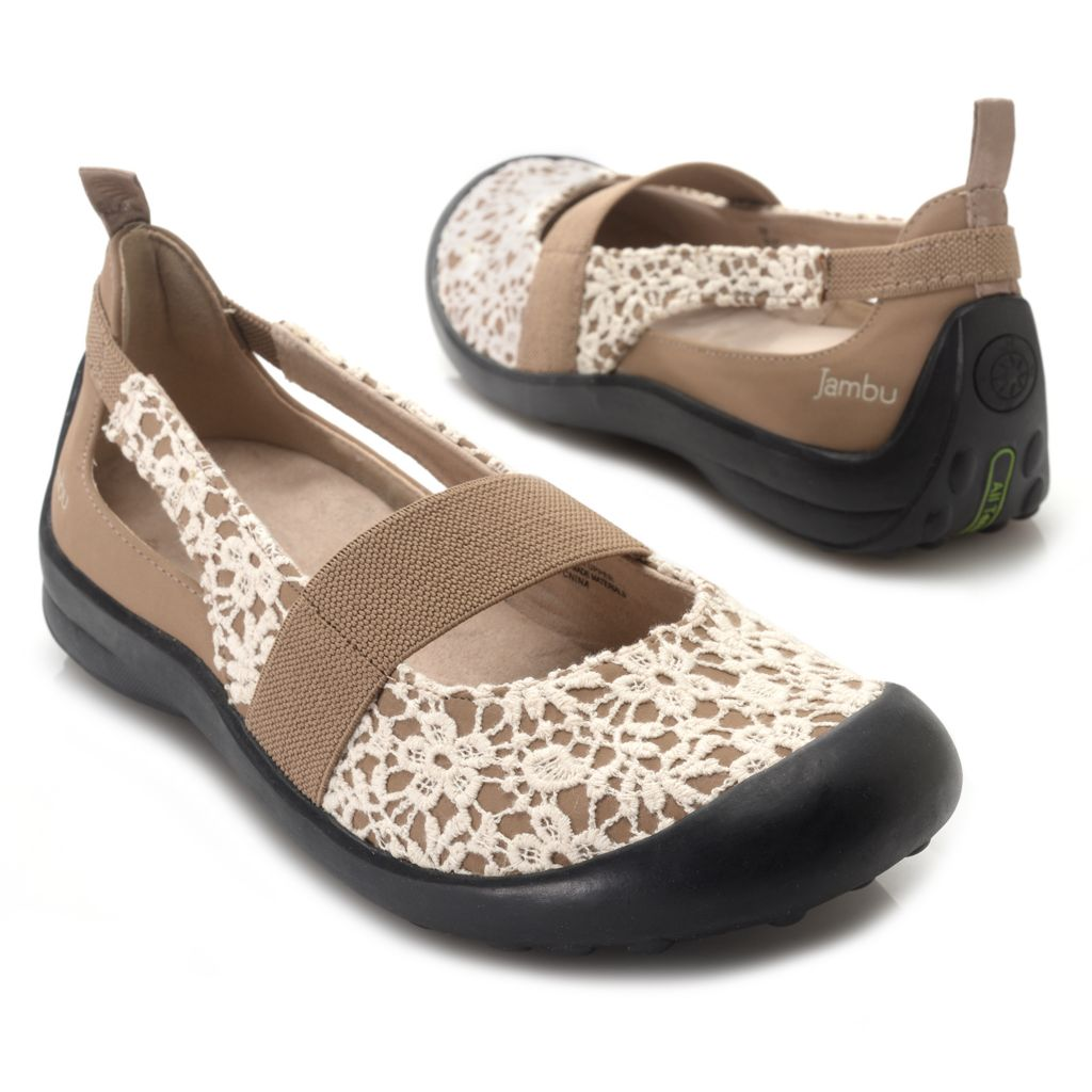 715-972 - Jambu Lace Overlay Elastic Strap Mary Jane-Style Comfort Shoes