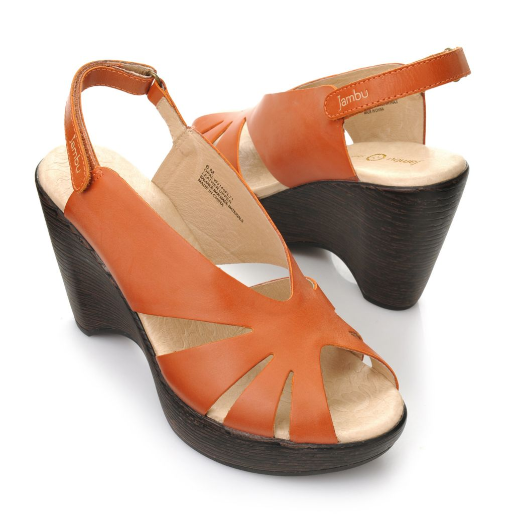715-976 - Jambu Leather Cut-out Peep Toe Wedge Sandals