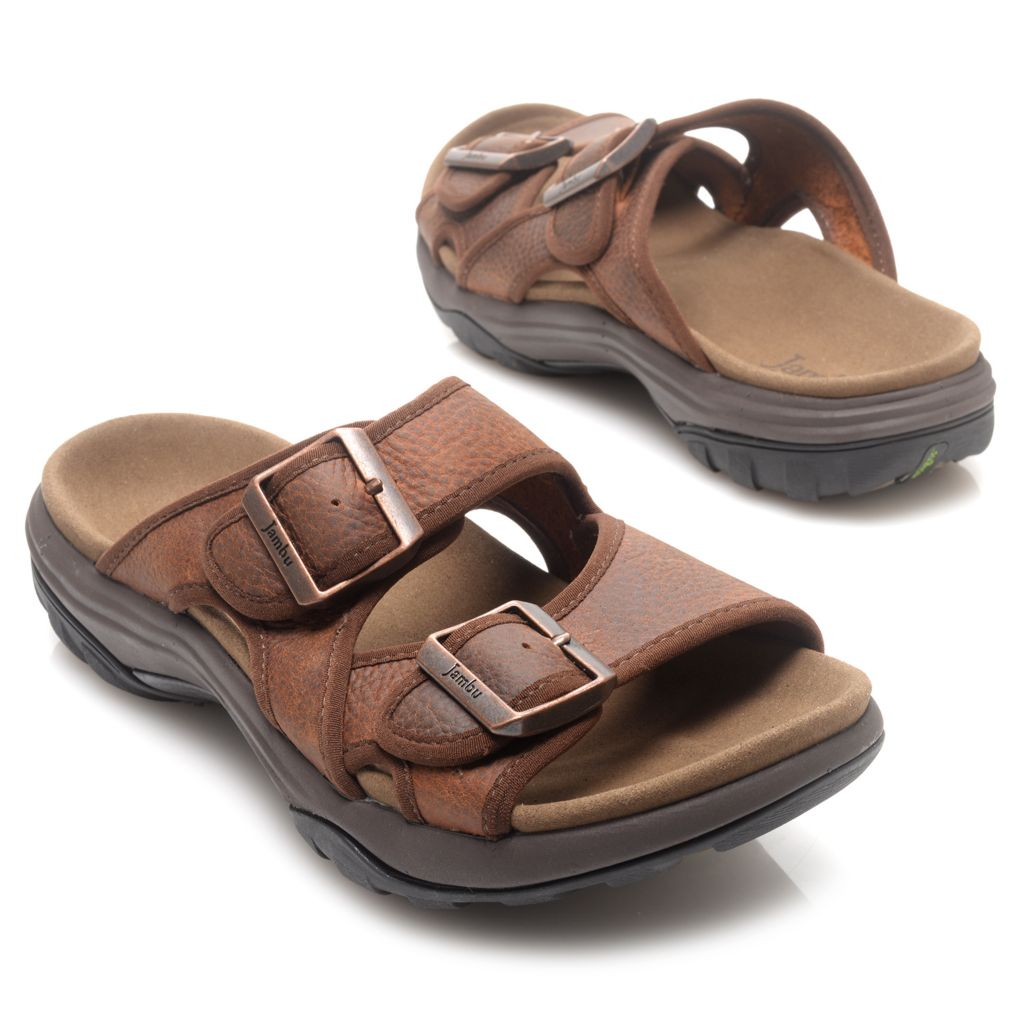 715-978 - Jambu Men's Leather Buckle Detailed Slip-on Sandals