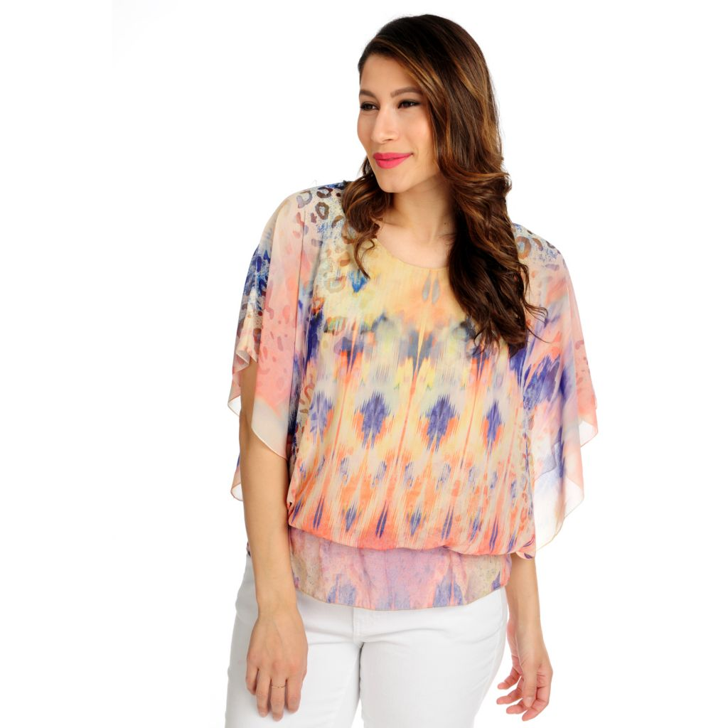 715-982 - One World Chiffon Butterfly Sleeved Elastic Waist Printed Top