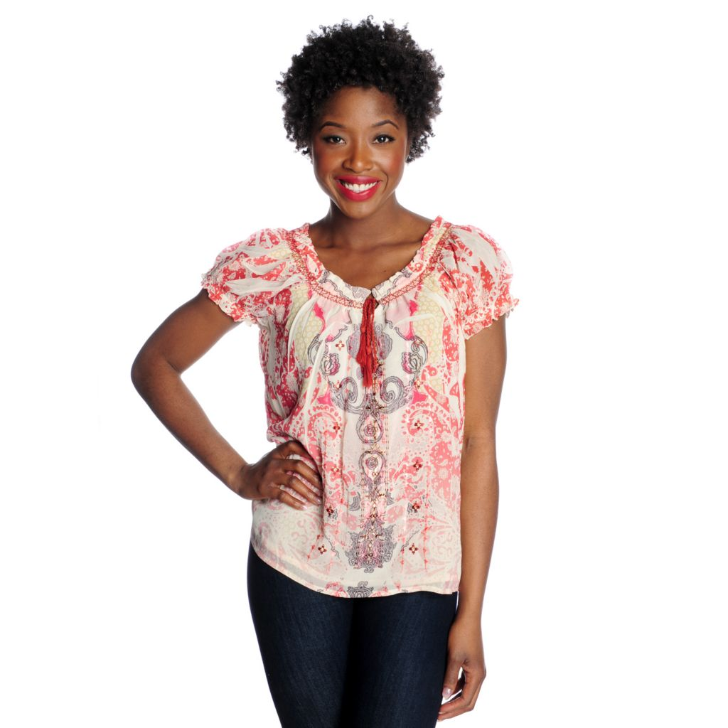 715-983 - One World Yoryu Short Sleeved Embroidered Peasant Top