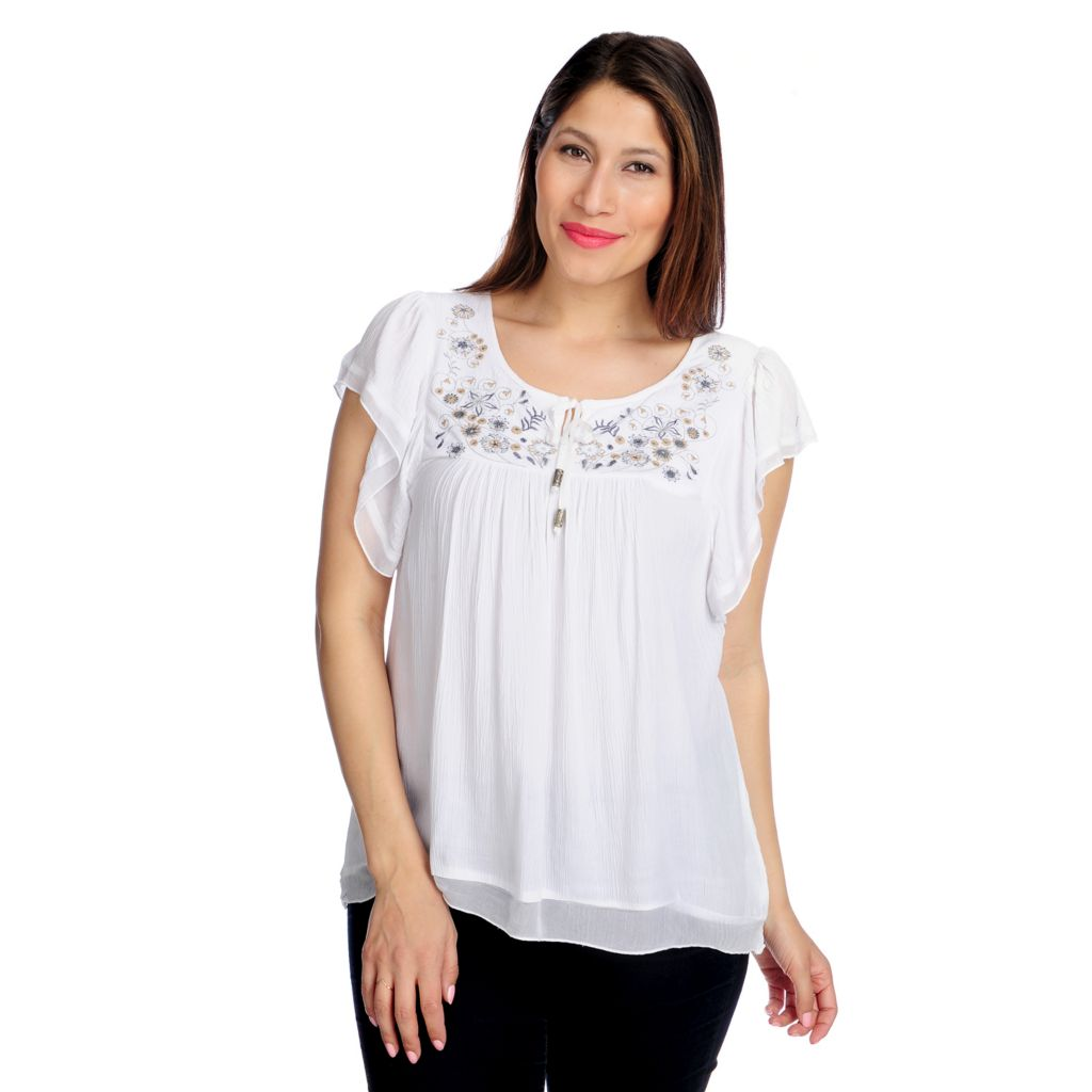 715-988 - One World Gauze Flutter Sleeved Chiffon Trimmed Peasant Top