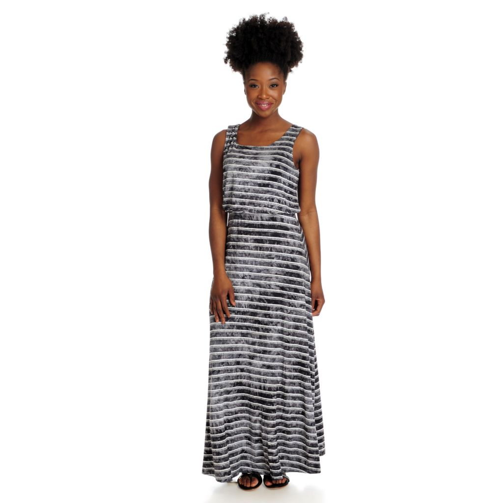 715-992 - One World Stretch Knit Sleeveless Blouson Striped Maxi Dress