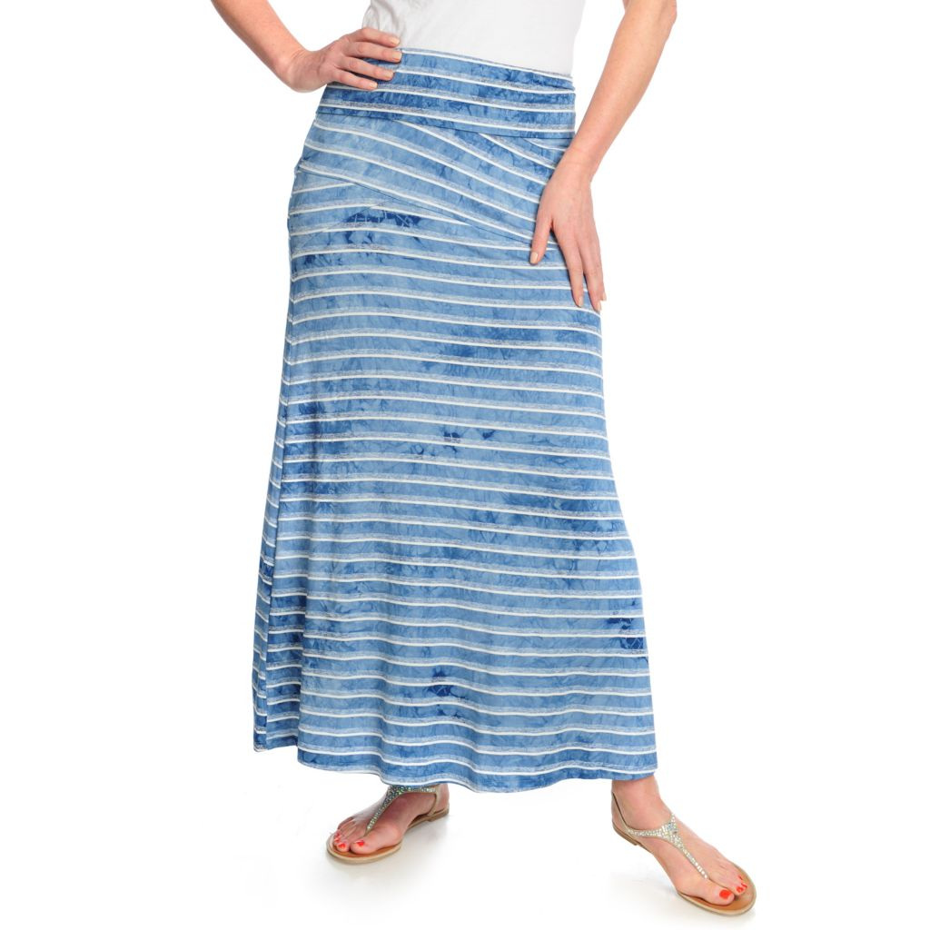 715-995 - One World Stretch Knit Fold-over Pieced Maxi Skirt