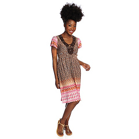 716-000 - One World Printed Mesh Flutter Sleeved Ikat Border Print Flip Flop Dress
