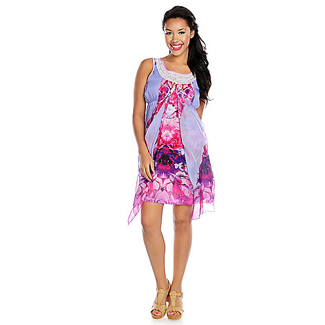 716-001 - One World Printed Knit & Chiffon Overlay Embellished Flip Flop Dress