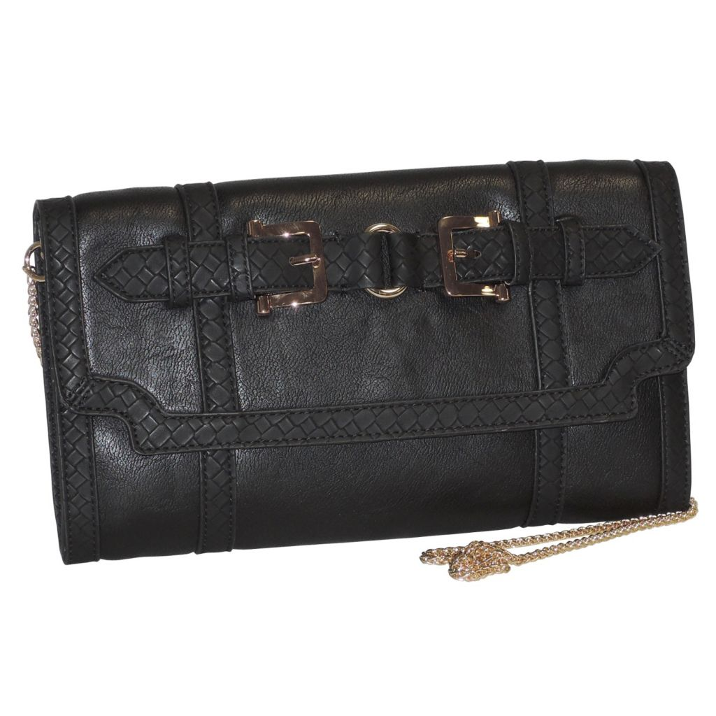 716-008 - Buxton® Buckle Detail Clutch w/ Removable Chain Strap
