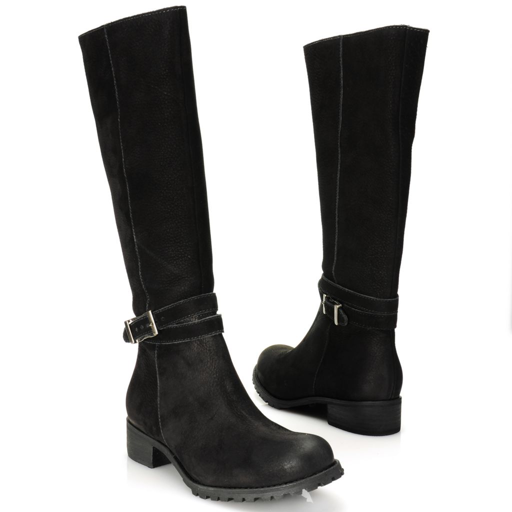 716-015 - Matisse® Nubuck Leather Buckle Detailed Crisscross Belt Tall Boots