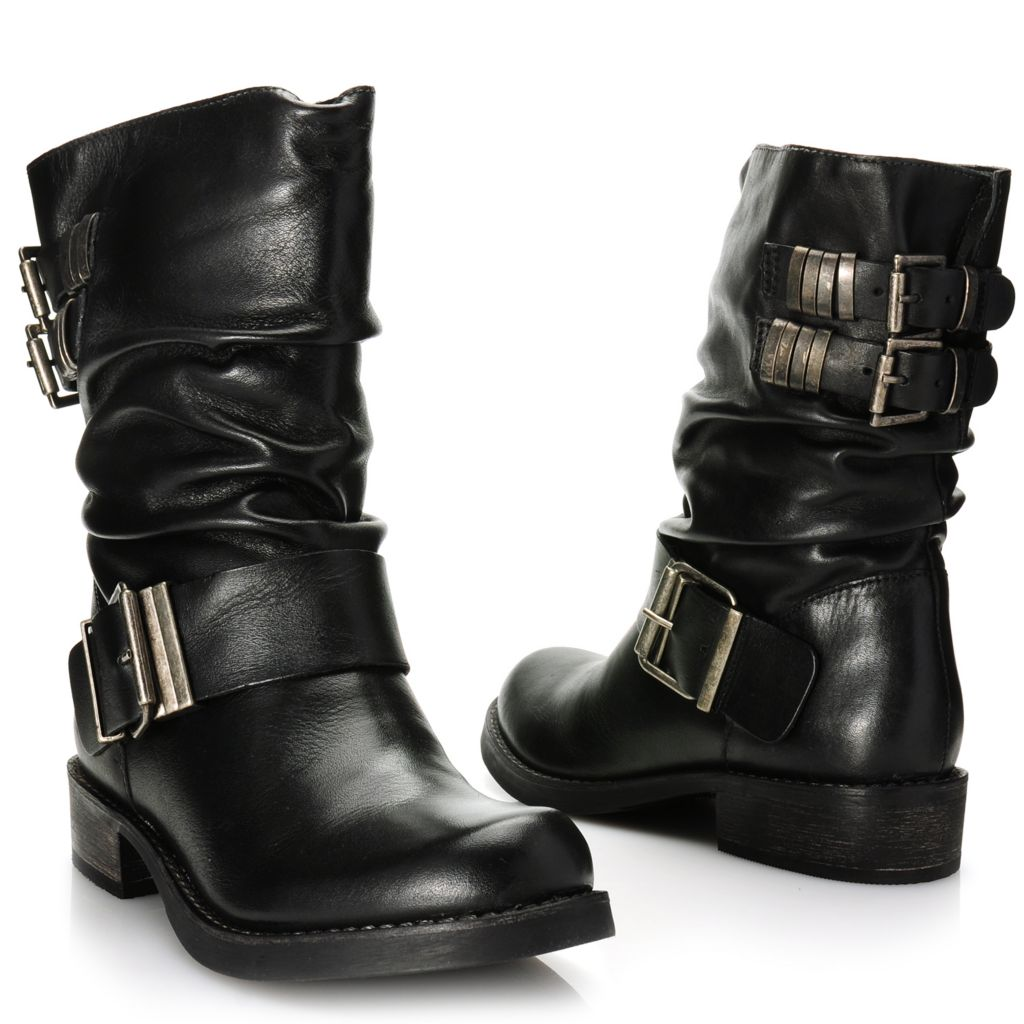 716-016 - Matisse® Leather Buckle & Belt Detailed Slouchy Pull-on Mid-Height Boots