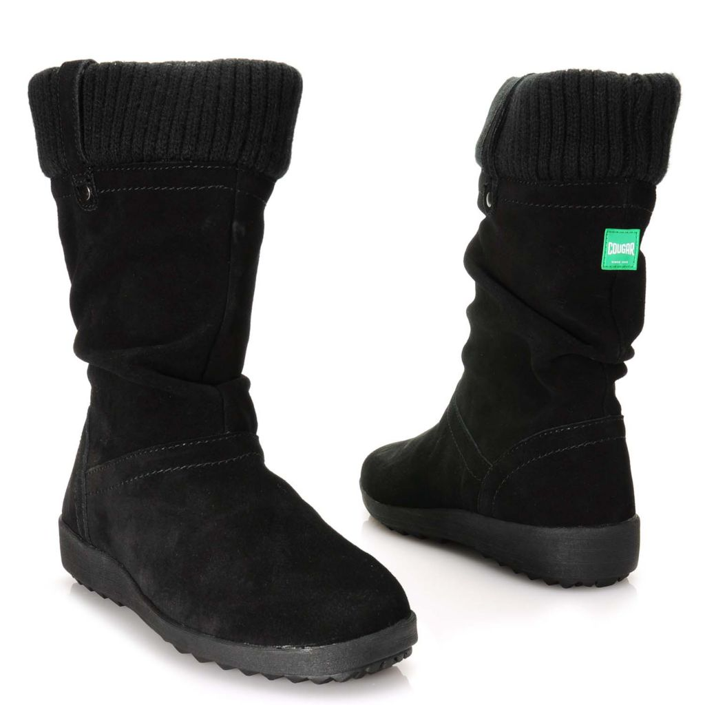 716-021 - Cougar® Footwear Waterproof Suede Leather Slouchy Sweater Cuffed Mid-Calf Boots