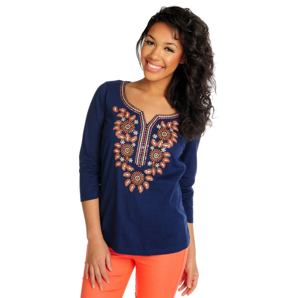716-024 - OSO Casuals Cotton Knit 3/4 Sleeved Embroidered Neck Top