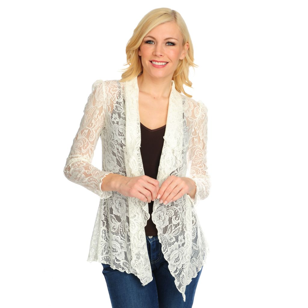 716-025 - Kate & Mallory Lace Long Sleeved Open Front Cardigan Sweater