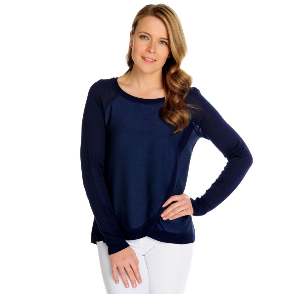 716-028 - Kate & Mallory Mixed Media Raglan Sleeved Round Neck Tulip Hem Top