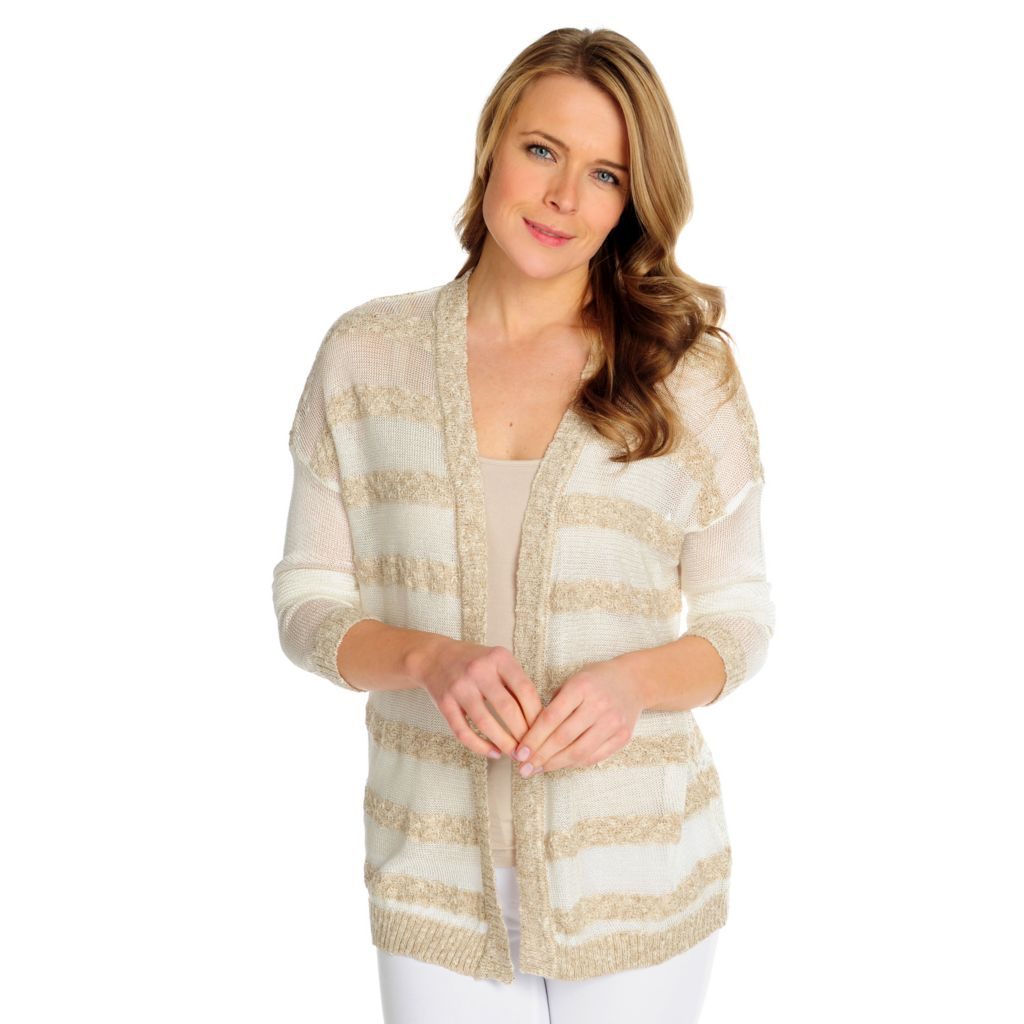 716-029 - Kate & Mallory Open Knit Drop Shoulder Open Front Striped Cardigan
