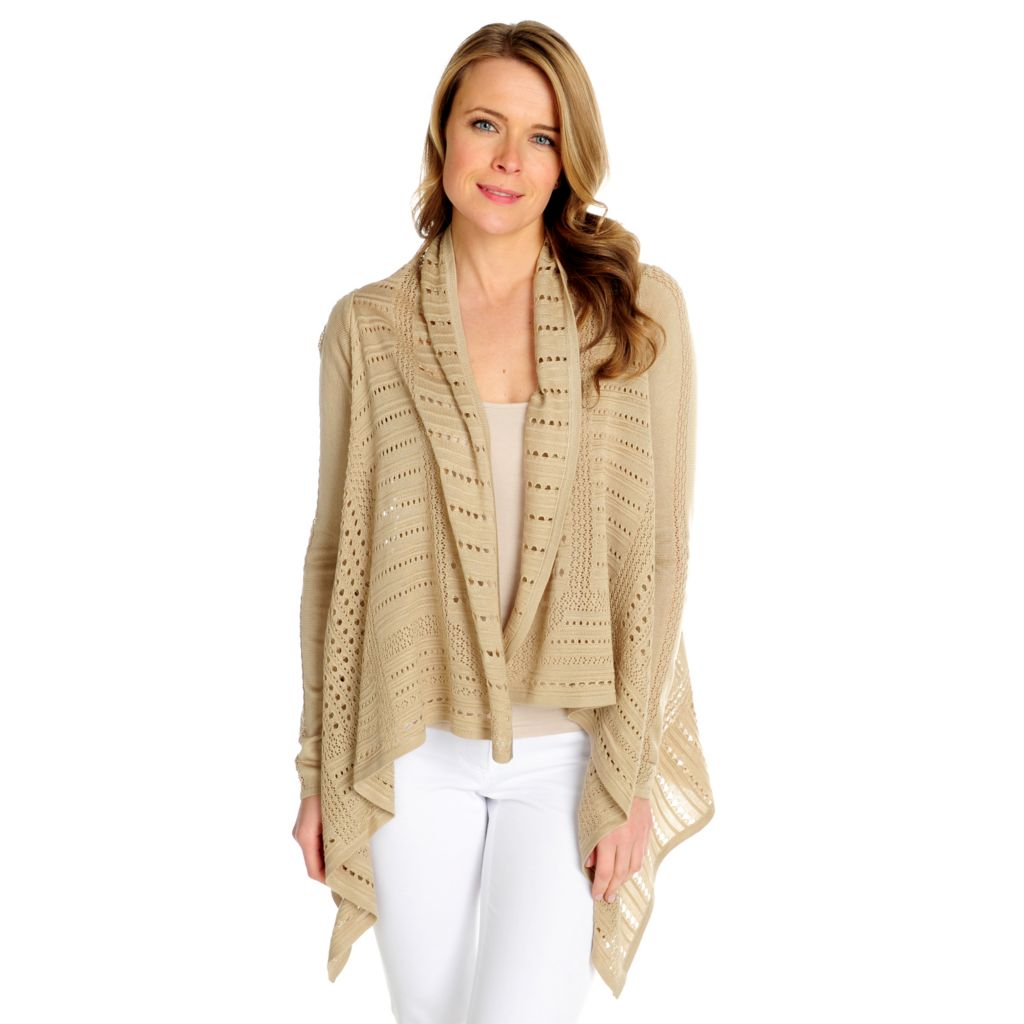 716-030 - Kate & Mallory Open Knit Long Sleeved Cascade Front Cardigan Sweater