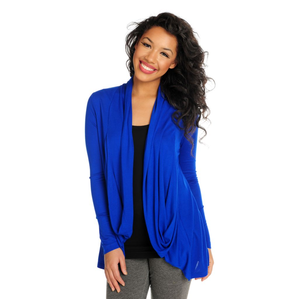 716-036 - Kate & Mallory Knit Long Sleeved Drape Front Open Cardigan