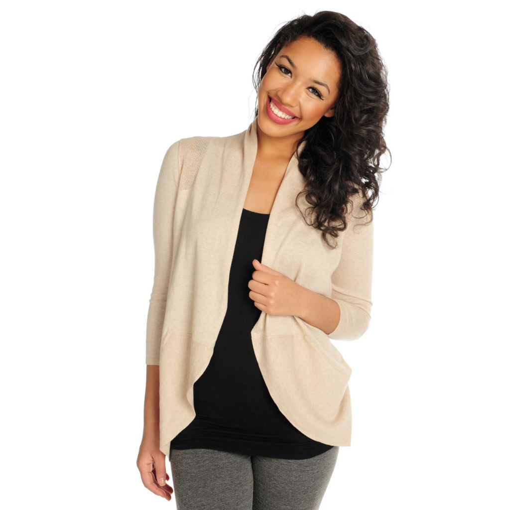 716-037 - Kate & Mallory Fine Gauge Open Knit Combo 3/4 Sleeved Drape Cardigan