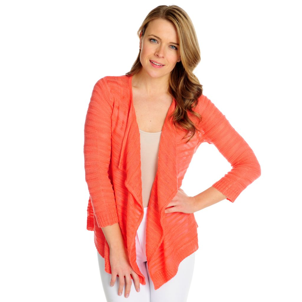 716-038 - Kate & Mallory Sweater Knit 3/4 Sleeved Cascade Front Open Cardigan