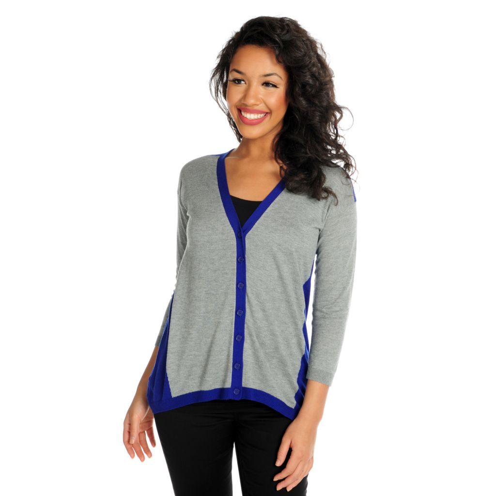 716-039 - Kate & Mallory Fine Gauge Knit 3/4 Sleeved Button Front Cardigan Sweater