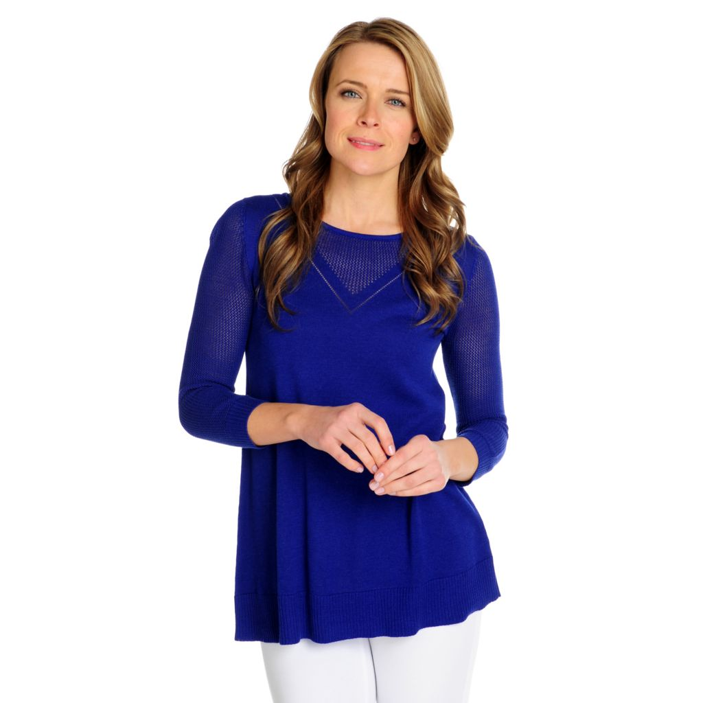 716-040 - Kate & Mallory Fine Gauge Open Knit Combo 3/4 Sleeved Sweater
