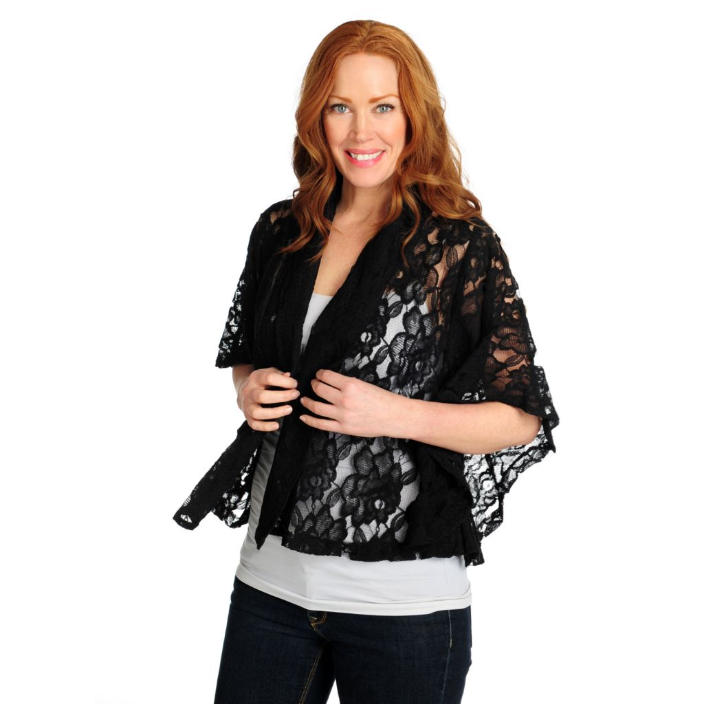 716-059 - Kate & Mallory Lace Poncho Sleeved Open Front Cardigan