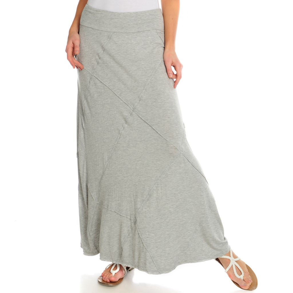 716-060 - Kate & Mallory Stretch Knit Elastic Waistband Pieced Maxi Skirt