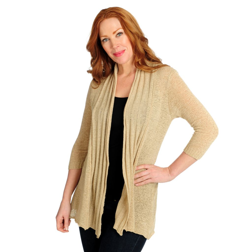 716-061 - Kate & Mallory Tape Yarn 3/4 Sleeved Lace Back Open Cardigan