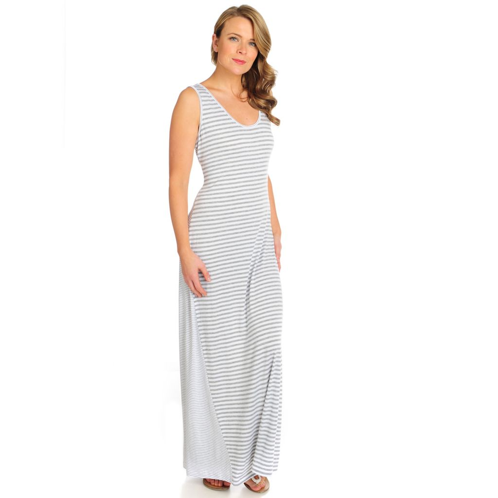 716-063 - Kate & Mallory Stretch Knit Sleeveless Mixed Stripe Maxi Dress