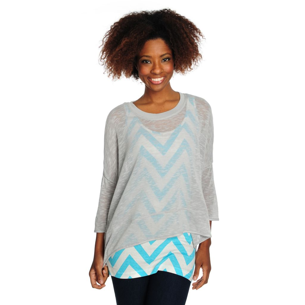 716-064 - Kate & Mallory Slub Knit Drop Shoulder Sweater w/ Printed Tank Top