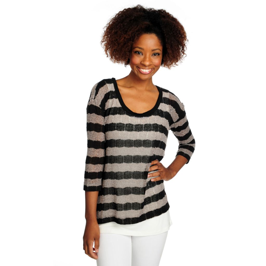 716-066 -  Kate & Mallory Mixed Stitch 3/4 Sleeved Sweater w/ Knit Tank