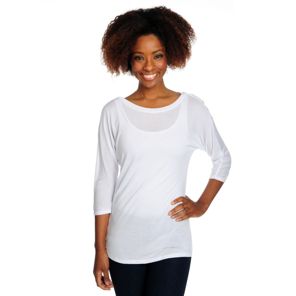 716-067 - Kate & Mallory Stretch Knit Dolman Sleeved Boat Neck Lace Detail Top
