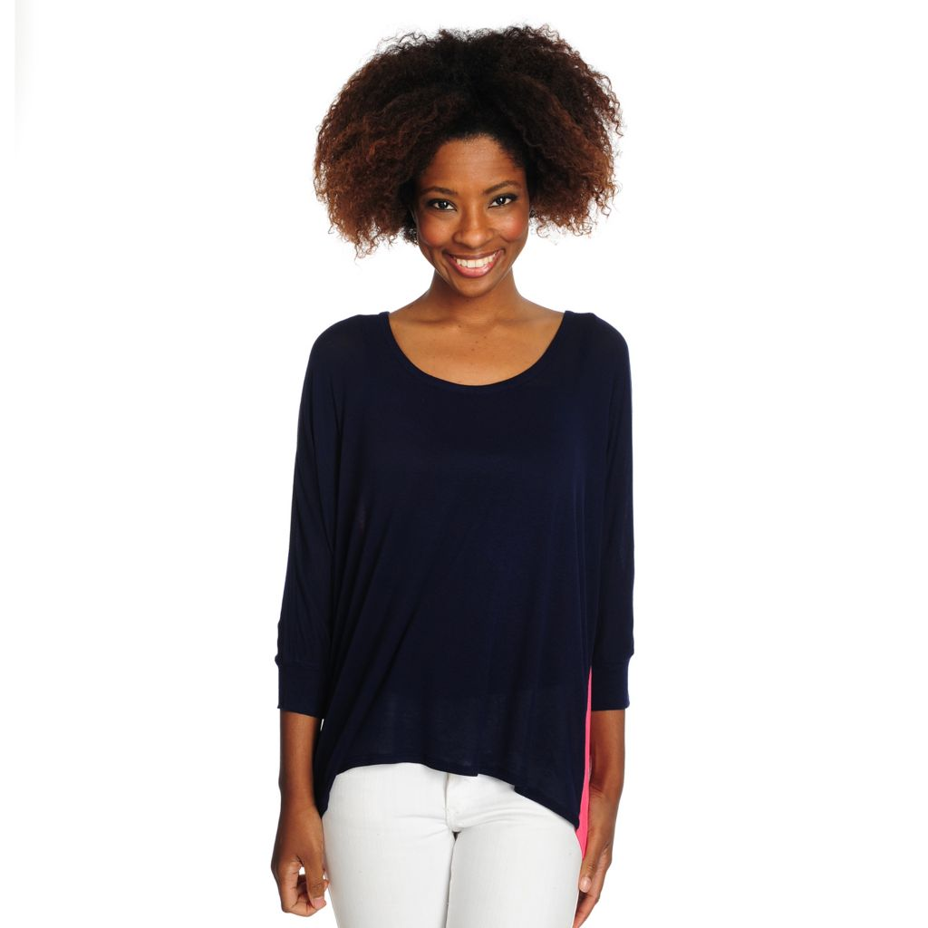 716-068 - Kate & Mallory Fine Gauge Knit Dolman Sleeved Color Blocked Hi-Lo Top
