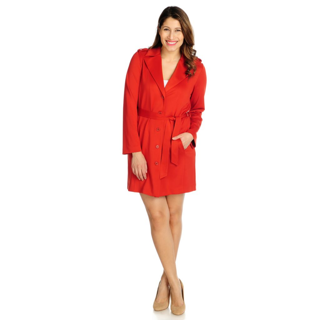 716-070 - Kate & Mallory Ponte Knit Long Sleeved Two-Pocket Coat Dress