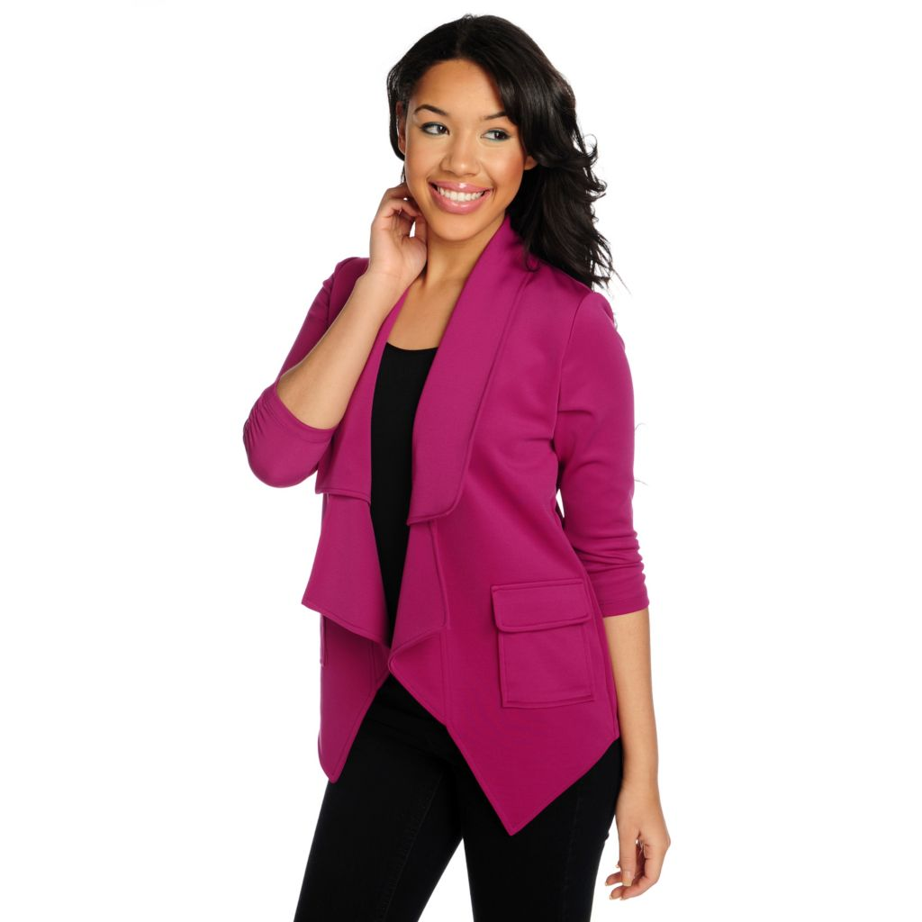 716-073 - Kate & Mallory Ponte Knit 3/4 Sleeved Two-Pocket Open Front Blazer