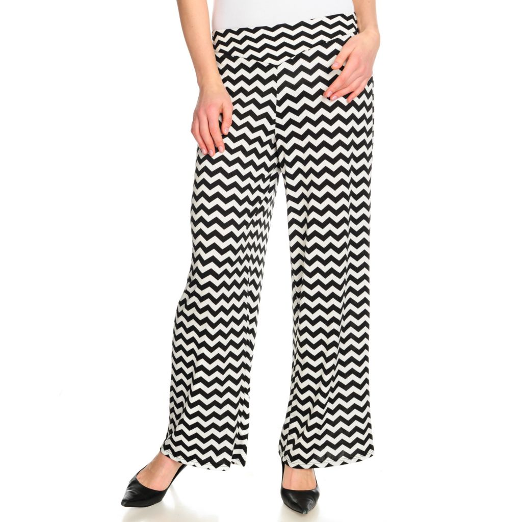 716-075 - Kate & Mallory Stretch Knit Elastic Waist Pull-on Printed Palazzo Pant