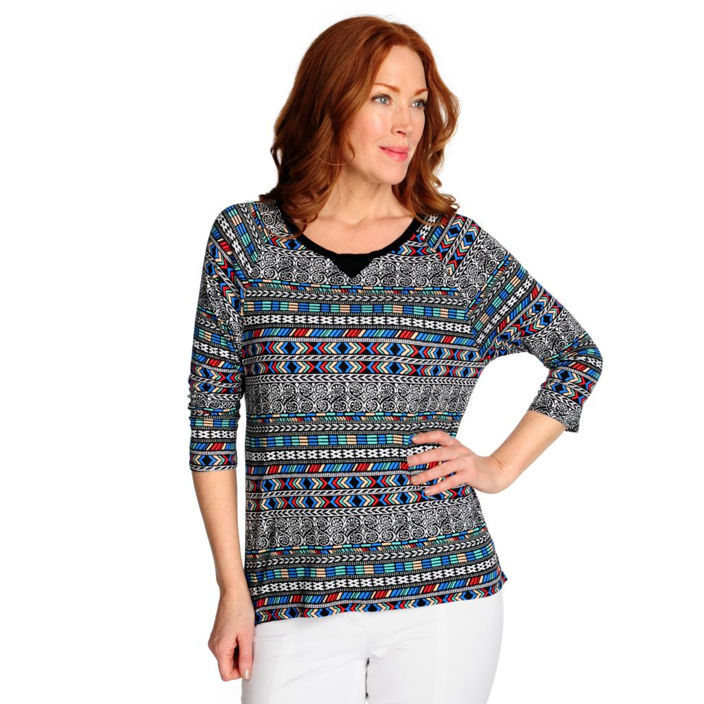 716-077 - Kate & Mallory Stretch Knit Raglan Sleeved Printed Hi-Lo Top