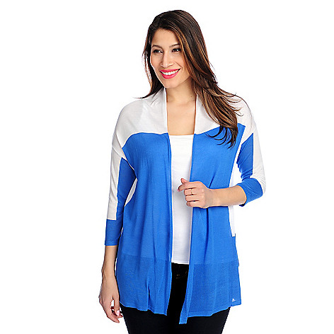 716-081 - Kate & Mallory® Fine Gauge Knit 3/4 Sleeved Color Blocked Open Cardigan