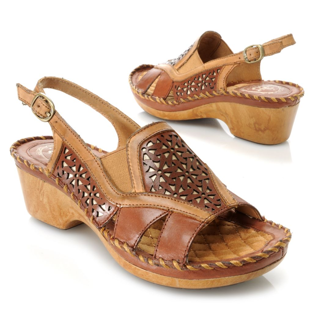 716-087 - Ariat® Leather Laser Cut Floral Design Wedge Sandals
