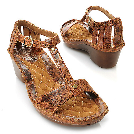 716-088 - Ariat ''Shalimar'' Leather T-Strap Buckle Detailed Wedge Sandals