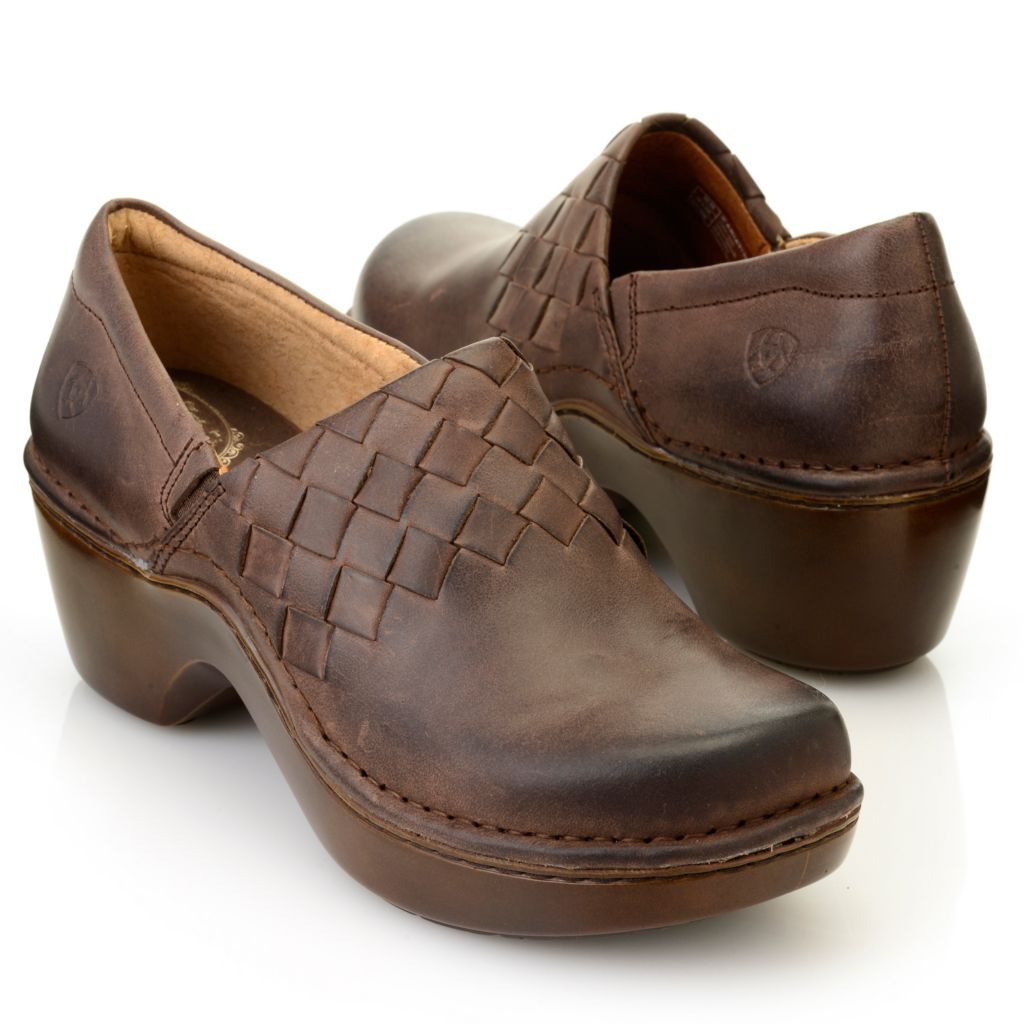 716-089 - Ariat® Leather Woven Design Slip-on Clogs