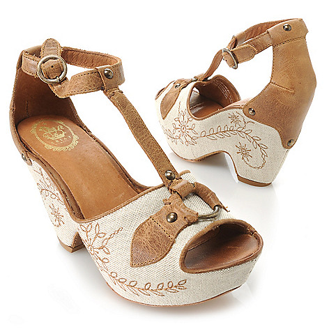 716-091 - Ariat ''Vista'' Leather & Canvas Embroidered Floral Design T-Strap Wedge Sandals