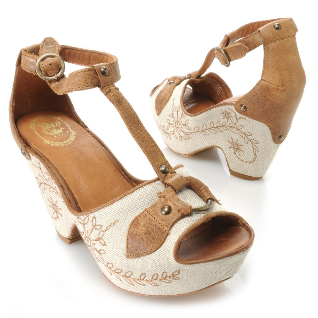 716-091 - Ariat® Leather & Canvas Embroidered Floral Design T-Strap Wedge Sandals