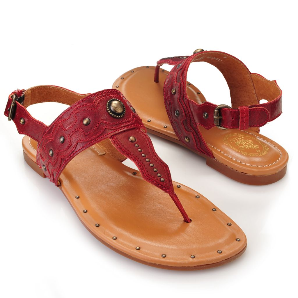716-092 - Ariat® Leather Stud & Concho Detailed T-Strap Thong Sandals