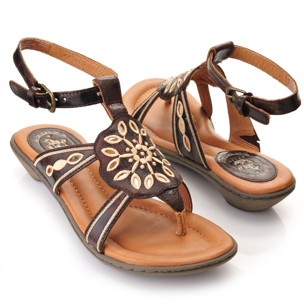 716-093 - Ariat® Distressed Leather Cut-out & Embroidered Flower Thong Sandals w/ Ankle Strap