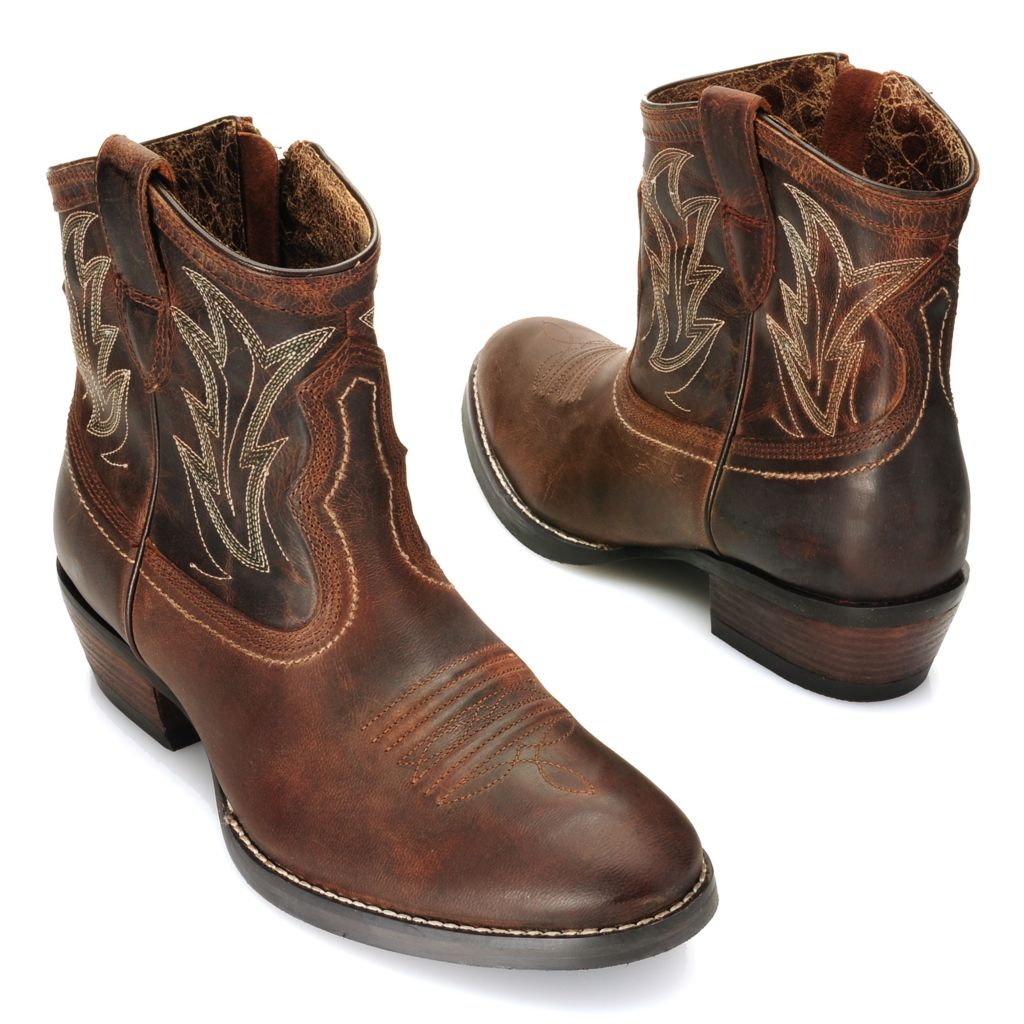716-095 - Ariat® Leather Side Zip Western-Inspired Ankle Boots