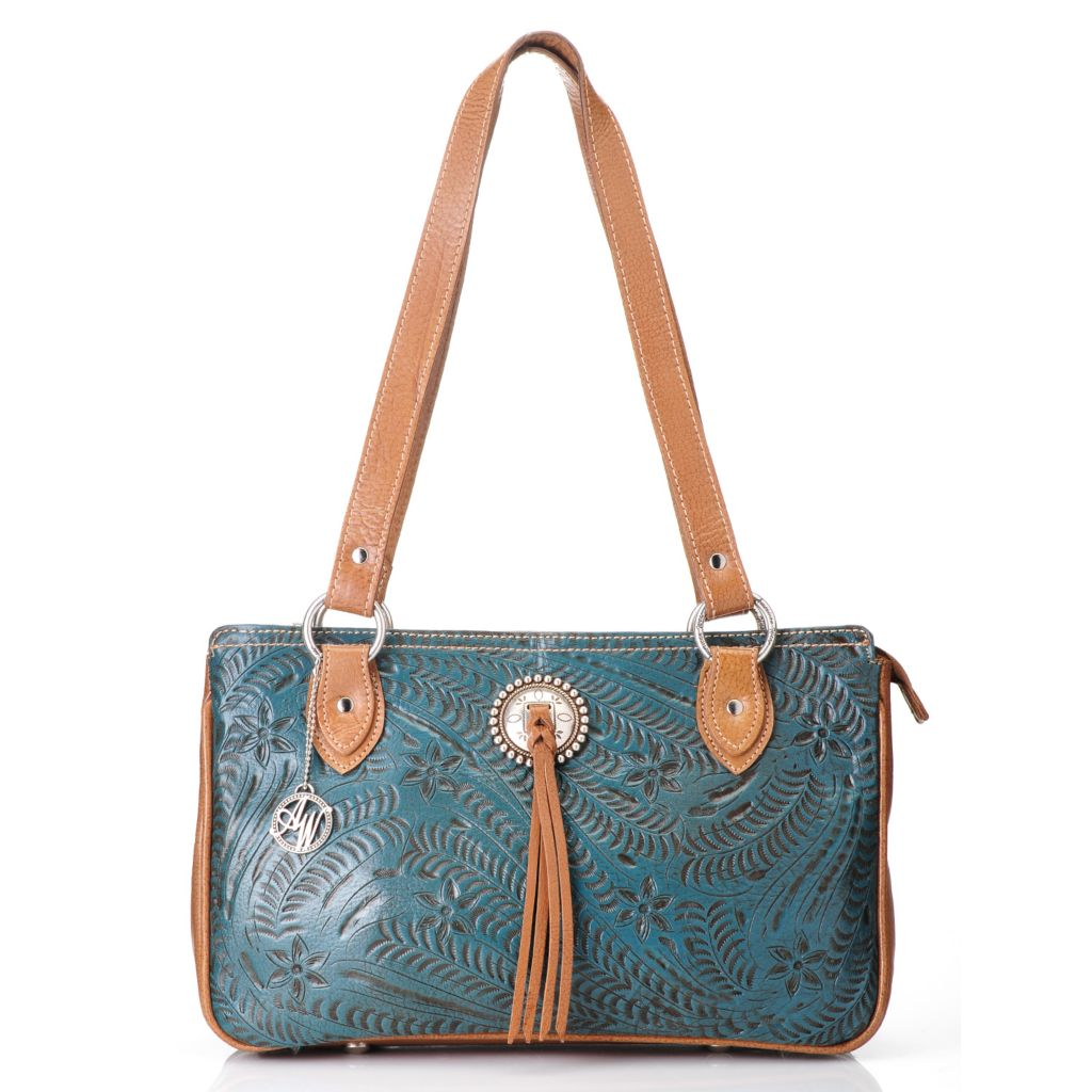 716-107 - American West Hand-Tooled Leather Zip Top Multi Compartment Concho Tote Bag