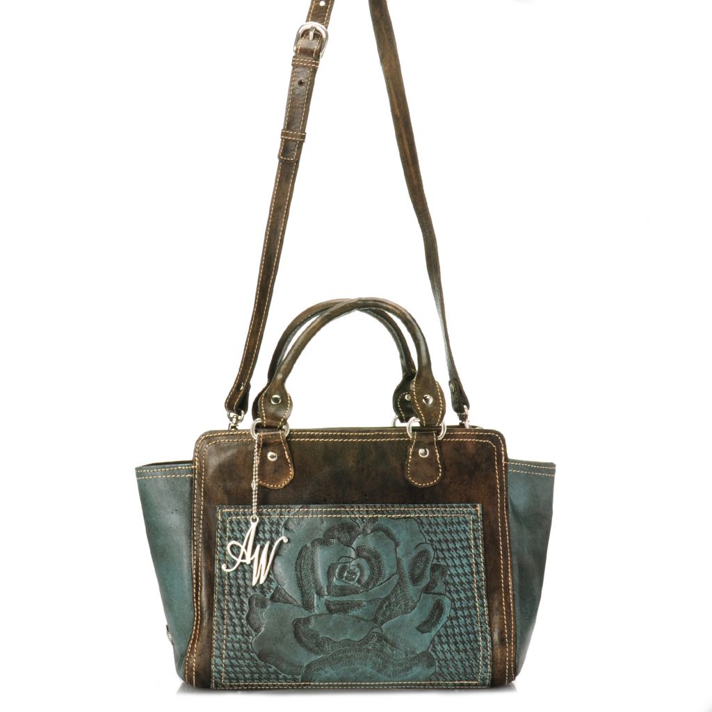 716-108 - American West Hand-Tooled Leather Double Handle Zip Top Tote Bag w/ Strap