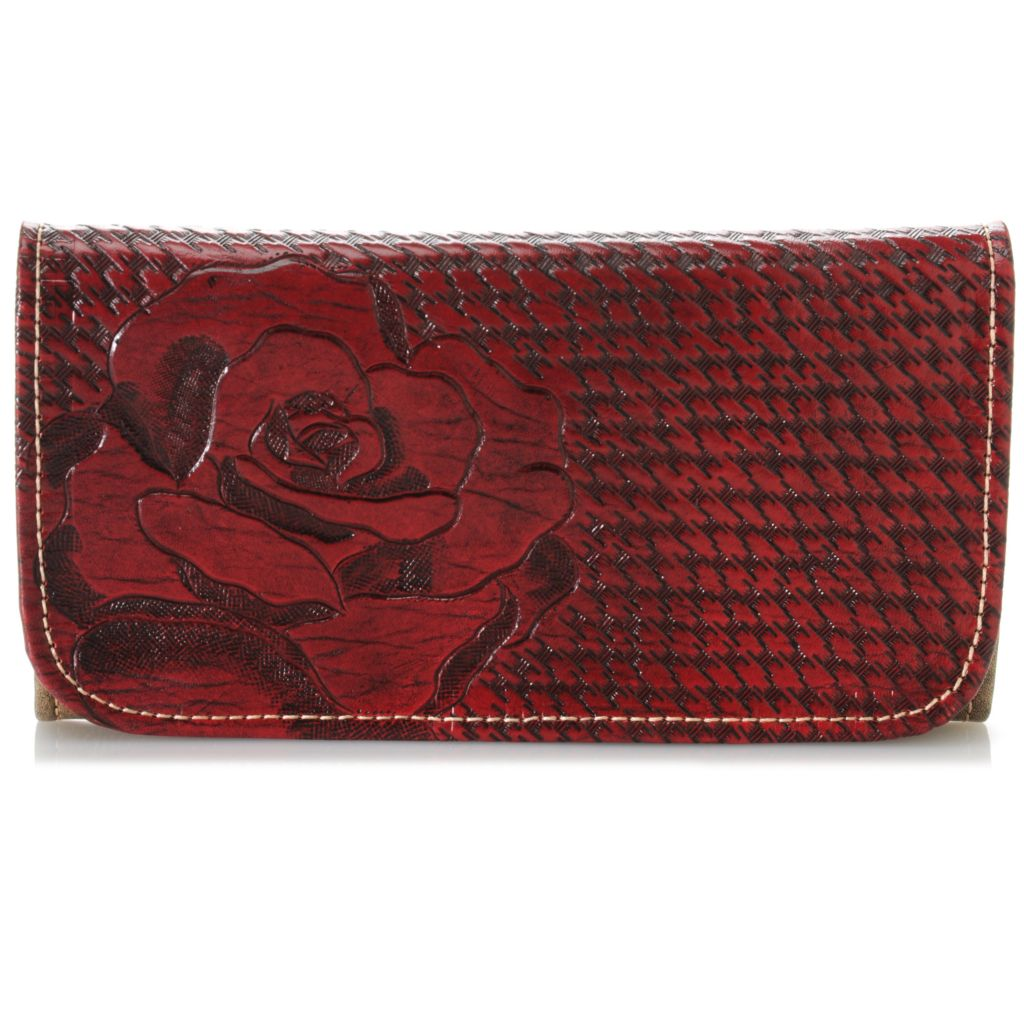 716-109 - American West Hand-Tooled Leather Rose Design Tri-Fold Wallet