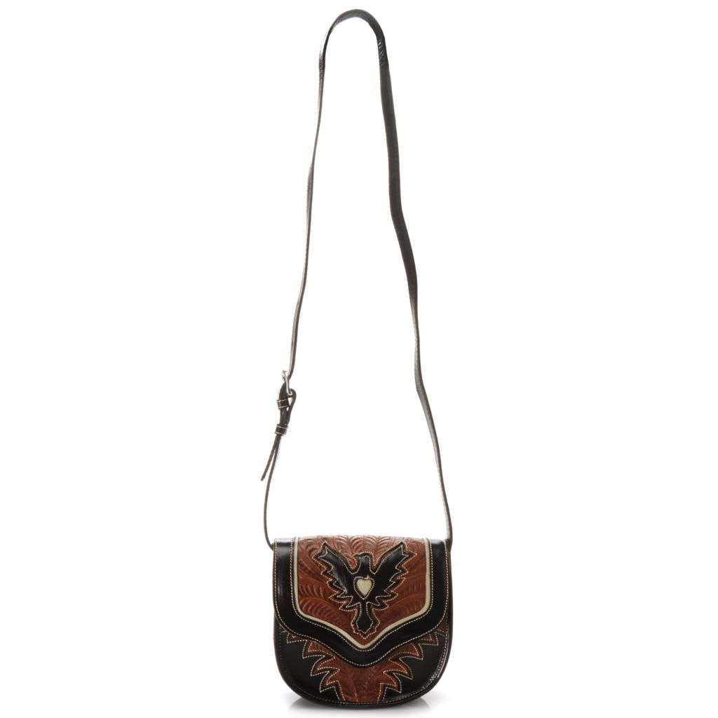 716-110 - American West Hand-Tooled Leather Flap Over Cross Body Bag